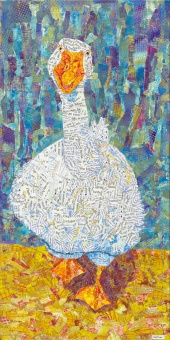 Duck Monoprinted paper collage