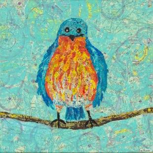 Blue bird Mono printed torn paper collage