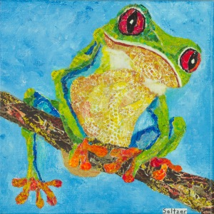 Frog Mono printed paper collage