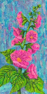 Garden pink and blue Mono printed old papers hand torn paper collage