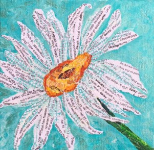 Daisy Hand Painted torn paper collage on gallery wrapped canvas