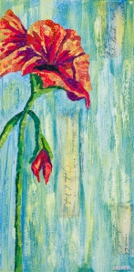 Red flower blue and green background, mono printed torn paper collage mixed media