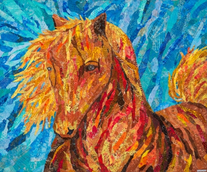 Horse in colors red yellow brown and bits of orange collage