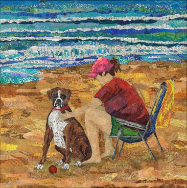 Woman sitting in beach chair dog sitting beside her