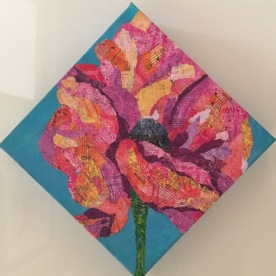 Pink orange and yellow poppy mono printed torn paper collage on gallery wrapped canvas