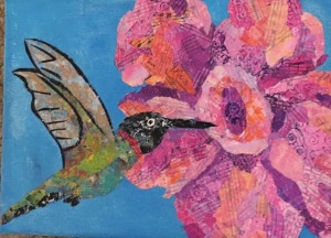Hummingbird torn paper collage gallery wrapped canvas
