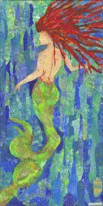 Mermaid , Red hair, Old phone bokks music sheets., maps used in a mono printed torn paper collage on gallery wrapped canvas