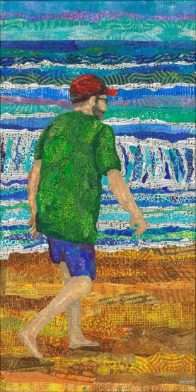Older man walking on beach . Monoprinted torn paper collage