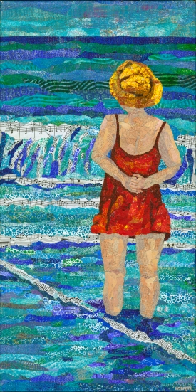 The Sea , Woman standing in surf, Music sheets, old maps Mono printed torn paper collage on gallery wwrapped canvas