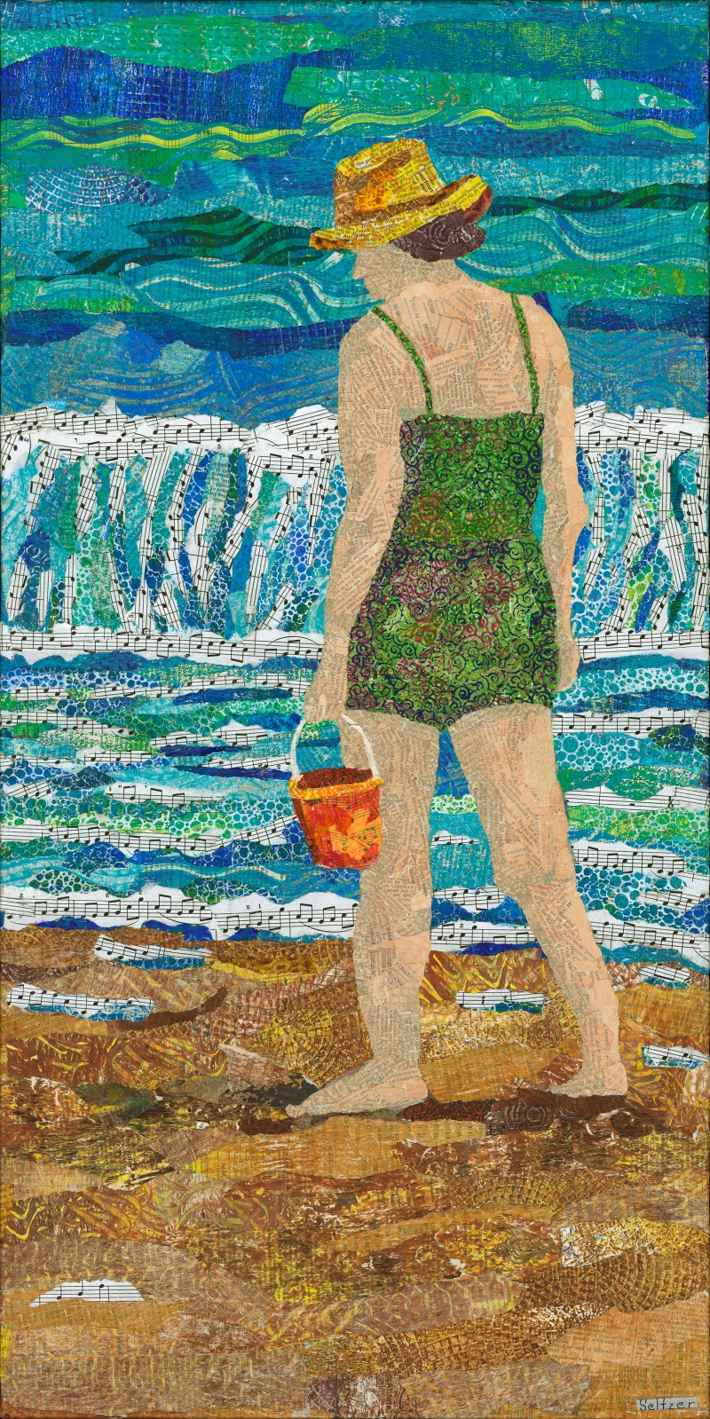 Woman collecting shells along the shore line