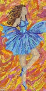 Ballerina, Monoprinted torn paper collage