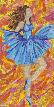 Ballerina, Monoprinted torn paper collage